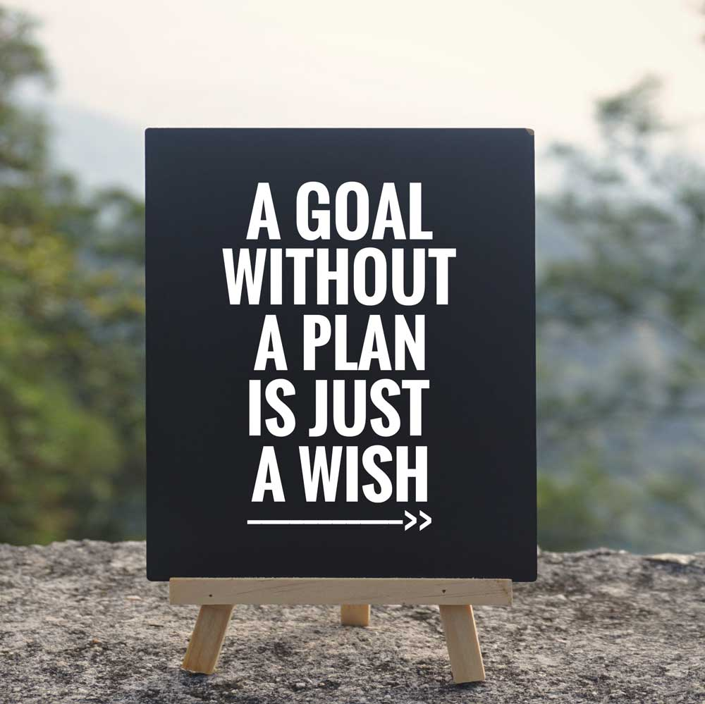 Sign saying: A goal without a plan is just a wish.